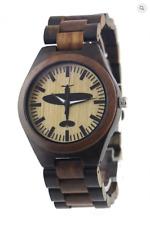 Spitfire motif watch, wooden case & strap, M/F, Friend or Foe, Miyota Quartz