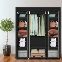"69"" Portable Clothes Closet Wardrobe Storage Organizer Rack Shelf Assemble US"