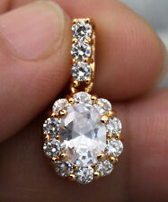 "18K Yellow Gold Filled - 0.8"" Oval Flower Topaz Zircon Women Party Gems Pendant"
