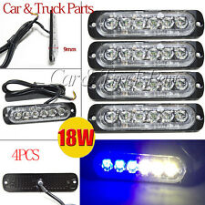 4PCS 18W 6 LED Light Bar Flash Emergency Car Warning Strobe Hazard Blue&White US