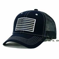 USA AMERICAN Flag Hat Tactical Operator Mesh Snapback Baseball Cap- Navy Blue