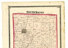 1874 Map of South Macon, Illinois, from atlas of Macon County w/familynames-rare