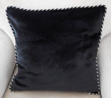 NEW Thick Luxurious BLACK VELVET 44cm Sq Cushion Covers Black & White Rope Trim
