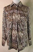 Schicke OTTO KERN Jersey Bluse, Hemd Viskose braun-beige Leoprint Gr. 44