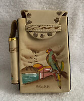 Hand Painted Aruba Themed Leather Cigarette & Lighter Holder Case Parrot Toucan