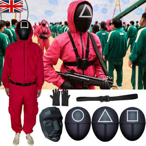Squid Game Halloween Adult Costume Red Soldiers Leader Cosplay Jumpsuit Mask UK