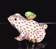 HEREND GUILD, FROG with VBO PAINTED BUTTERFLY FIGURINE, RUST FISHNET, FLAWLESS