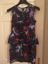 NEW H&M FLORAL PEPLUM DRESS SIZE 14