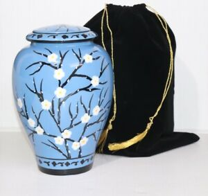 """Aluminium Blue with white flower Cremation Urn For Adult 10"""" 