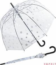 Esprit Glocken-Regenschirm durchsichtig transparent Automatik Punkte Sterne