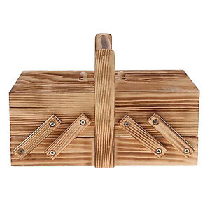 Portable Foldable Wooden Sewing Kit Box Thread Scissors Sew Basket Household