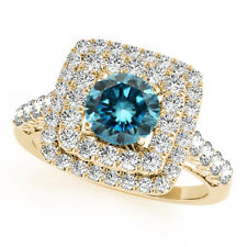 2 Cts Blue & White Diamonds Solitaire 14k Yellow Gold Sparkling Double Halo Ring