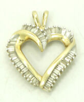 14K Yellow Gold .45 CTW Diamond Baguette Pave Open Heart Pendant 3.5g M1150