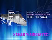 96W LED 4 Ft 4-Light Premium Brushed Nickel Flush Mount Hardwired Fixture 4500K