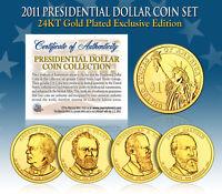2011 Presidential $1 Dollar 24K GOLD PLATED President 4-Coin Full Set w/Capsules