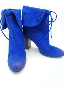 Free People Vero Cuoio Dakota Heel Cobalt Blue Leather Heel Boots Size 9US 39EU