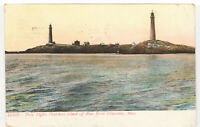 1907 Postcard Twin Lights Thatchers Island Cape Ann Lighthouses Gloucester MA