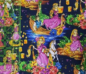 Custom 100% Cotton Woven Tangled Movie Rapunzel Navy By the 1/4 Yard SHIPS FAST!
