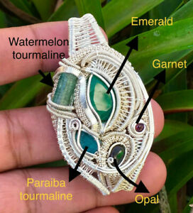 Sterling Silver Wire Wrap Pendant wd Emerald /Watermelon Tourmaline / Opal