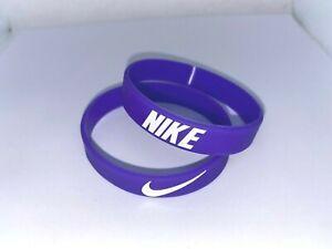 Nike Baller Band Silicone Rubber Bracelet Purple White Elite Series AF1 BEST