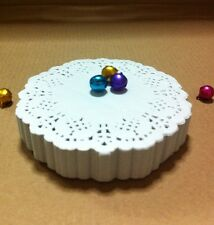 """LOT 1000 OF 3.5"""" INCH Paper  Doilies White Round Top Peg Perforated Cardmaking"""