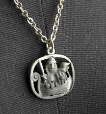 JORGEN JENSEN Pewter Viking in Ship Pendant DENMARK