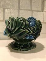 Vintage Pedestal Planter Flower Pot ~ Dark Green Blue Footed Ceramic Pottery