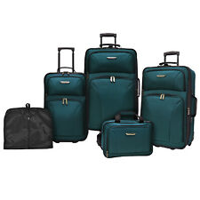 Travelers Choice Ultimate 5pc Teal Expand Luggage Tote Suitcase Travel Bag Set