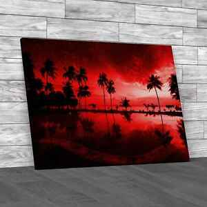 Sunrise At Thailand Paradise Red Canvas Print Large Picture Wall Art