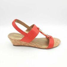 Anne Klein Womens Varek Sandal Wedge Heel Shoes Orange Slingback 10 M New