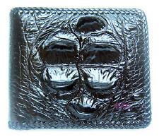 BLACK CROCODILE HORNBACK LEATHER HARD ROCK HANDMADE BIFOLD MEN'S WALLET