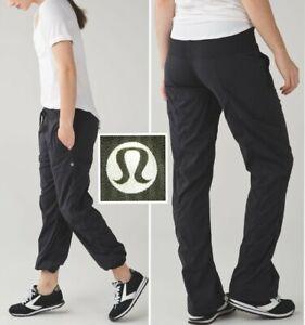 "LULULEMON studio pant lined black 28"" inseam relaxed fit lightwt swift womens 6"