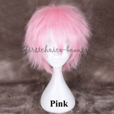 Fluffy Anime Short Hair Wig Women Mens Straight Synthetic Wig Cosplay Costume 3f