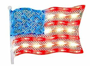 """Impact 14.5"""" Lighted Fourth of July American Flag Window Silhouette Decor"""