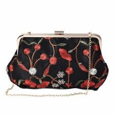 Black with Red Flower Pattern Polyester Clutch Bag Shoulder Strap Handbag Bag