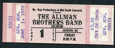 Original 1979 Allman Brothers unused concert ticket Jackson Enlightened Rogues