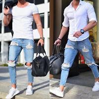 Men Ripped Hole Jeans Casual Slim Skinny Frayed Biker Denim Pants Trousers Sizes