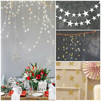 LN_ EG_ 4M STAR PAPER GARLANDS BUNTING WEDDING XMAS PARTY BANNER HANGING DECOR