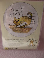 MOUSELOFT STITCHLETS CROSS STITCH KIT ~ BISCUIT THE CAT ~ CAN'T STOP! ~ NEW