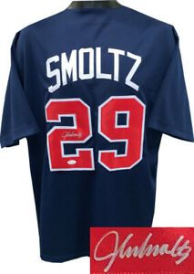John Smoltz signed Navy TB Pro Baseball Jersey XL- JSA Witnessed Hologram