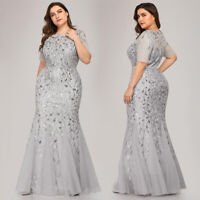 Ever-pretty Plus Size Long Mermaid Evening Dresses Sequins Cocktail Prom Gowns