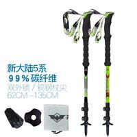 Telescopic 3 Sections Trekking Hiking Poles Carbon Fiber Walking Stick 62-135cm