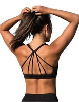 icyzone Padded Strappy Sports Bra Yoga Tops Activewear, Black, Size X-Large q0LJ