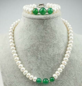 8-9mm Abacus White Pearl/10-12mm Round Green Jade Beads Necklace + Bracelet Set