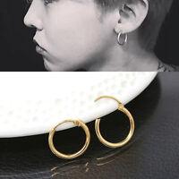 Fashion Sterling Silver Gold Endless Hoop Rings Lip Nose Ear Studs EarringsAUE