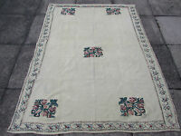 Old Traditional Hand Made Turkish European Cream Wool Cotton Kilim Rug 188x144cm