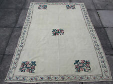 Old Traditional Hand Made Turkish European Cream Wool Cotton Kilim Rug 188x144cm