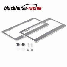 2 PC Sliver Stainless Steel Metal License Plate Frames Tag Cover Screw Caps