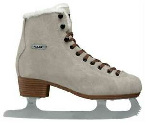 Roces Women's Suede Eco Fur Glamour Figure Ice Skates Lace-Up Italian Brown Lace