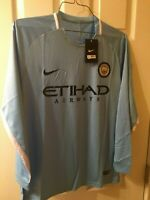 Manchester City  Home 2017-2018 Baby Blue Replica L/S Soccer Jersey Sz- L & XL
